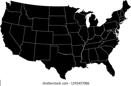 Maps United States Of America Vector Designs Region State Black