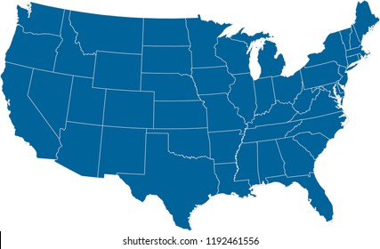 Maps United States Of America Vector Designs Region State Dark Blue