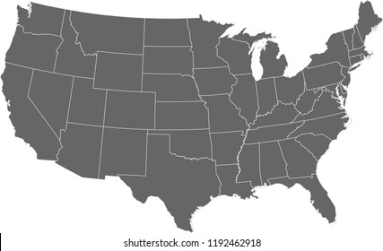 Maps United States Of America Vector Designs Region State Grey