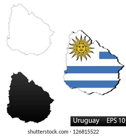 Maps of Uruguay, 3 dimensional with flag clipped inside borders,and shadow, and black and white contours of country shape, vector