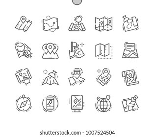 Maps Well-crafted Pixel Perfect Vector Thin Line Icons 30 2x Grid for Web Graphics and Apps. Simple Minimal Pictogram