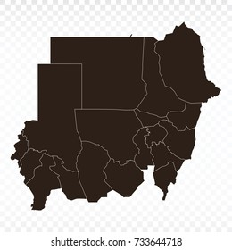 Map-Sudan map. Each city and border has separately. Vector illustration eps 10.