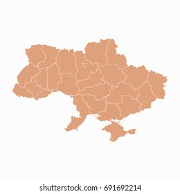 Map-Ukraine map. Each city and border has separately. Vector illustration eps 10.