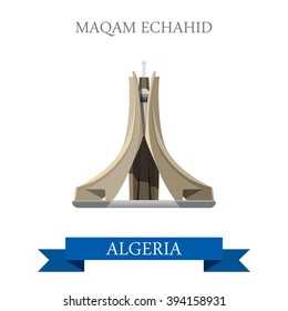 Maqam Echahid in Algeria. Flat cartoon style historic sight showplace attraction web site vector illustration. World countries cities vacation travel sightseeing Africa collection.