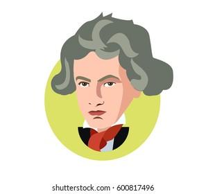 Mar 15,2017 ..Ludwig van Beethoven flat icon portrait illustration