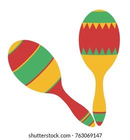 Maracas, Mexican maraca, Colorful Pair maracas flat icon, Percussion musical instrument, rumba shaker, shac-shac, beanbag. Cartoon style, vector