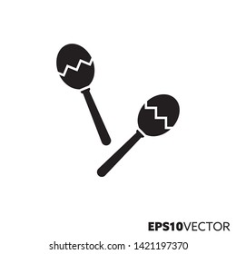 Maracas solid black icon. Glyph symbol of latin music and percussion instruments. Musical instrument flat vector illustration.