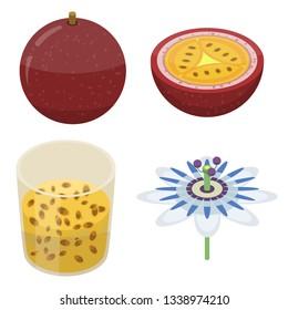 Maracuja icons set. Isometric set of maracuja vector icons for web design isolated on white background