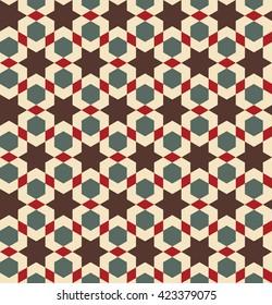 Marakesh decor. Moroccan seamless pattern. Razil Moorish background. Islamic texture. Oriental decor. Islamic culture.