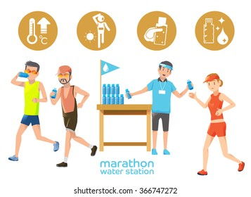 Marathon icons water station. Thirsty from hot weather in the competition. The endurance race distance.