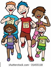 Marathon Kid Race: Children running together in a race wearing numbered badges.