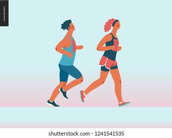 Marathon race group - flat modern vector concept illustration of running men and women wearing sportswer. Marathon race, 5k run, sprint. Creative landing page design template, web banner