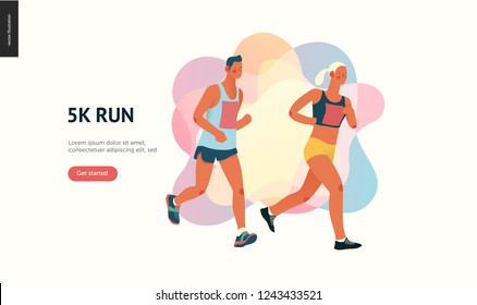 Marathon race group - flat modern vector concept illustration of running men and women wearing sportswer. Marathon race, 5k run, sprint. Creative landing page design template, web banner