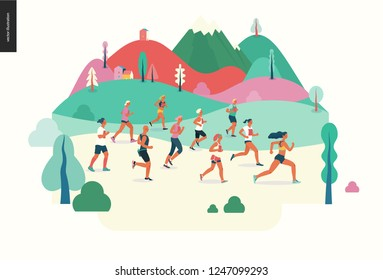 Marathon race group - flat modern vector concept illustration of running men and women wearing sportswer in landscape. Marathon race, 5k run, sprint. Creative landing page design template, web banner