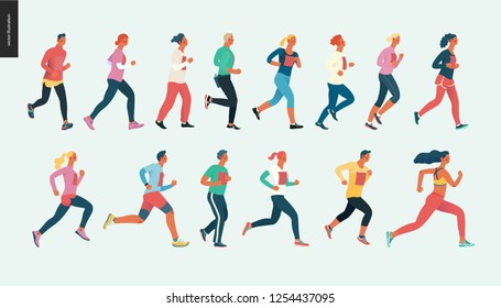 Marathon race group - flat modern vector concept illustration of running men and women wearing winter sportswer. Marathon race, 5k run, sprint. Creative landing page design template, web banner