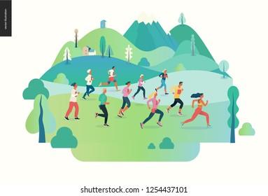 Marathon race group - flat modern vector concept illustration of running men and women wearing sportswer in landscape. Marathon race, 5k run, sprint. Creative landing page design template, web banner