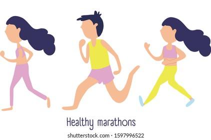 Marathon race group - flat modern vector concept illustration of running men and women wearing sportswer. Marathon race, 5k run, sprint.