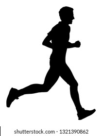 Marathon racer running silhouette. Exercise people vector. Healthy lifestyle man. Sport race. Urban runner active on street. Healthcare concept. Jogging after stressful work day. Health young man.