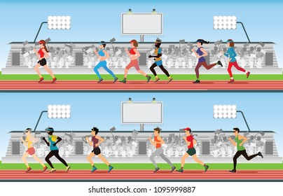 Marathon runner men and women on running race track with crowd in stadium grandstand, sport and competition vector illustration.