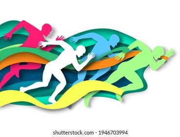 Marathon runner, sprinter, winner silhouettes, vector illustration in paper art style. Marathon finish line. Champion. Sprint, long distance race competition. Track and field.