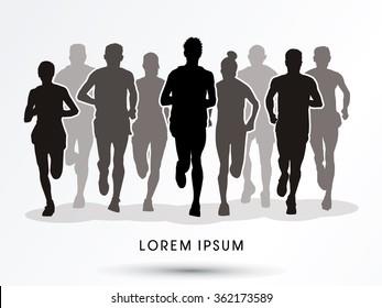 Marathon runners, crowd of people running graphic vector.
