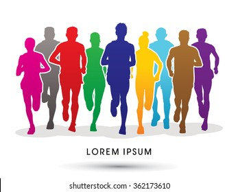 Marathon runners, crowd of people running graphic vector.