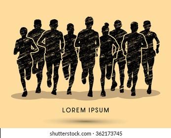 Marathon runners, crowd of people running, designed using grunge brush graphic vector.