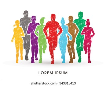 Marathon Runners, designed using colorful grunge brush  graphic vector.