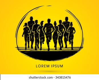 Marathon Runners, designed using grunge brush graphic vector.