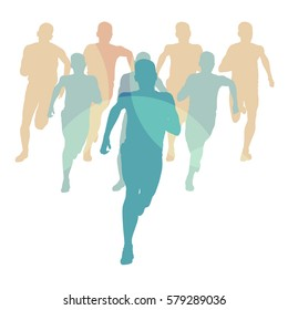 Marathon runners people crowd running vector background isolated on white