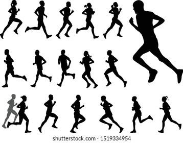 marathon runners silhouettes set - vector