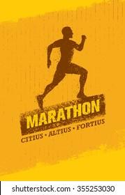 Marathon Running Creative Banner. Sport Vector Design Concept On Grunge Distressed Background