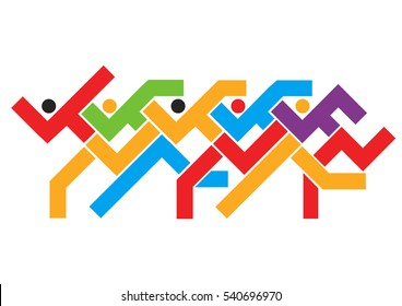 Marathon running race. Colorful abstract stylized illustration of race runners.Isolated on white background. Vector available.