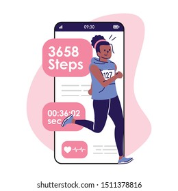 Marathon training smartphone interface vector template. Mobile app page with cartoon character. Running woman, track of workout on screen. Flat UI for application. Fitness tracker. Phone display