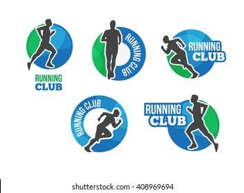 Marathon vector logo set with running man