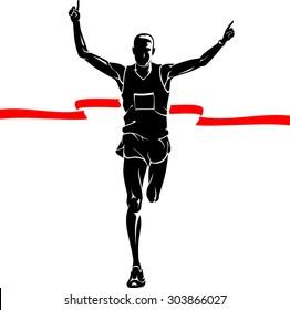 Marathon Winner Male Silhouette