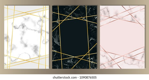 Marble A4 Card with Gold Line Set