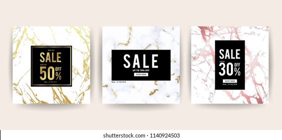 Marble and background design for banner or poster with marbling texture , Geometric style gold and rose gold details for summer and winter season sale marketing.