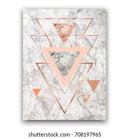 Marble background with rose gold triangles. Geometric print for your card, template, business, brochure. Trendy poster for textile, fabric, web, wallpaper, poster, home design, office design.