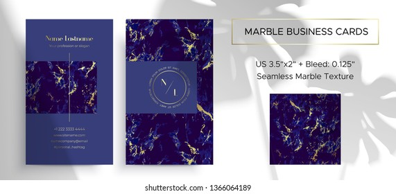 Marble business card. 2 sides. Corporate identity design template in the Ultramarine magic color. Noble and elegant branding. Size 3.5x2 inch. Blue Seamless marble texture is included in the layout.