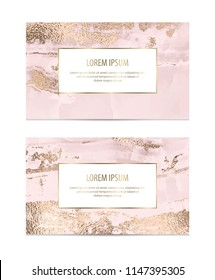 Marble business cards with gold texture.