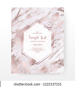 Marble celebration invitation card with rose gold veins texture.