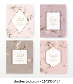 Marble celebration invitation cards with gold geometric frames and bronze texture.