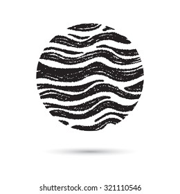 Marble circle, hand drawn with pen and chalk, wave pattern. Rounded shapes isolated on white, grunge. Vector of ink lines, scribbles of pencil and crayons , hatching, scratch on textured paper.