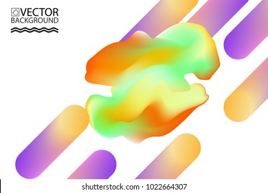 Marble cloud trendy illustration backgrounds, placards with abstract liquid bubbles shapes, 80s memphis geometric style flat and 3d design elements.