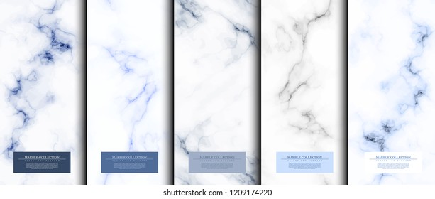 Marble collection abstract pattern texture navy blue sky background template vector design