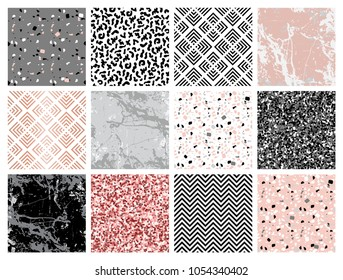 Marble collection. Set of seamless backgrounds and patterns with geometric shapes, pink glitter, marbled texture, hand drawn elements. Template for textile, apparel, card, invitation, wedding etc.
