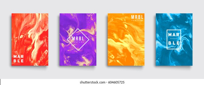 Marble covers set. Trendy colorful backgrounds. Eps10 layered vector.