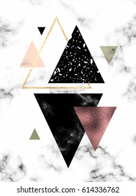 Marble geometric background with gold, rose gold and textured triangles.
