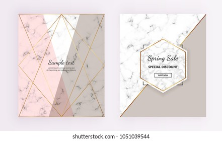 Marble geometric cover designs. Pink, grey, gold lines background. Trendy template for designs banner, card, flyer, invitation, party, birthday, wedding, placard, magazine,  website